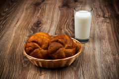 Bread and a glass of milk Royalty Free Stock Photography