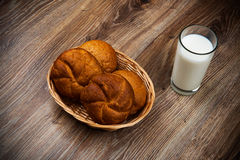 Bread and a glass of milk Royalty Free Stock Image