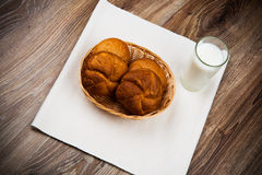Bread and a glass of milk Stock Photography