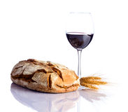 Bread with glass wine Stock Photo