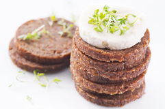 Bread with goat cheese Stock Photos