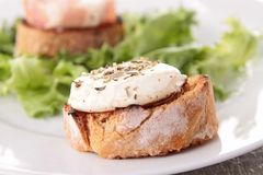 Bread with goat cheese Royalty Free Stock Photography