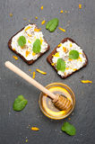 Bread with goat cheese, honey and chia seeds. Delicious breakfast. top view Royalty Free Stock Photography