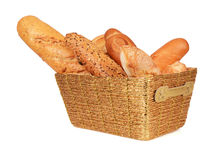 Bread in a gold basket royalty free stock photo
