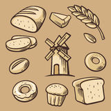 Bread, grain, wheat, donut, cake mill and Cooking. Set Vector bakery symbols and icon. Stock Photography