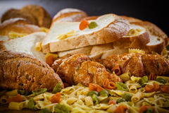 Bread and grains. Foods high in carbohydrate royalty free stock image