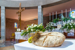 Bread, grapes and wheat symbol of Christian Holy Communion in Ch Royalty Free Stock Photo
