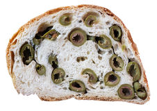 Bread with green olives Royalty Free Stock Photography