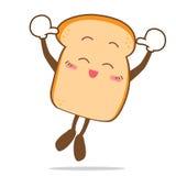 Bread-12 ha isolato la fetta di salto di sorriso felice di fumetto del pane Fotografie Stock