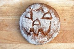 Bread with Halloween Face Stock Photos