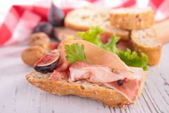Bread with ham Royalty Free Stock Photography