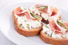 Bread with ham and cheese Royalty Free Stock Images
