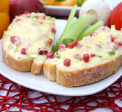 Bread with ham and cheese Stock Image