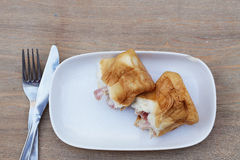 Bread ham cheese Royalty Free Stock Images