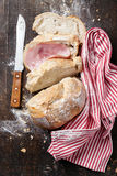 Bread with ham Stock Photography
