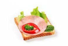 Bread with ham and greens Royalty Free Stock Photos