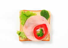Bread with ham and greens Stock Image