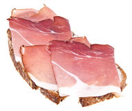Bread with ham isolated on white Stock Image