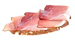 Bread with ham isolated on white Stock Photography
