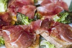 Bread with ham Stock Image