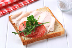 Bread with ham spread and salami. Slice of white bread with ham spread and salami stock photo