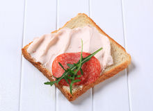 Bread with ham spread and salami Stock Photography