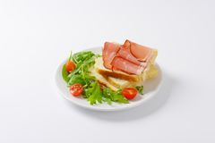 Bread with ham and vegetables Royalty Free Stock Photography