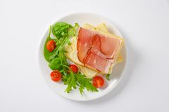 Bread with ham and vegetables Stock Photos
