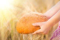 Bread in hands Stock Photo