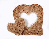 Bread with heart shape Stock Photos