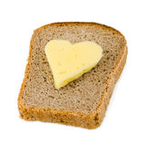 Bread and heart shaped cheese Stock Photo