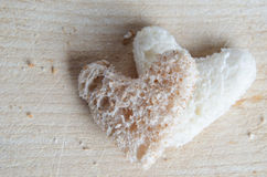 Bread Hearts on Wood Royalty Free Stock Image
