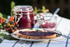 Bread with homemade blackberry jam Stock Photo