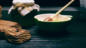 Bread and honey stock footage
