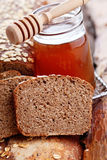 Bread with honey and oats Royalty Free Stock Photography