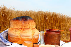 Bread and honey Stock Images