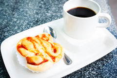 Bread with hot coffee. Royalty Free Stock Photos