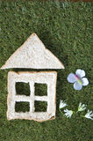Bread house with flowers Royalty Free Stock Images