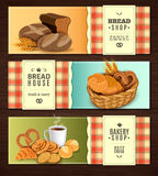 Bread House Horizontal Banners set. Vintage country style nostalgic bread house 3 flat horizontal banners set with cookies basket  vector illustration Stock Photography