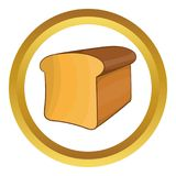 Bread icon. In golden circle, cartoon style isolated on white background stock illustration