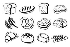 Bread icon set Royalty Free Stock Image