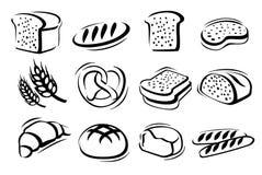 Bread icon set stock illustration