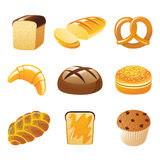 Bread icons. 9 highly detailed bread icons vector illustration