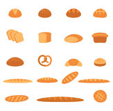 Bread icons set. Vector set of baked bread and rolls in a flat style isolated on white background vector illustration