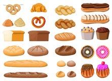 Big bread icons set. Bread icons set. Whole grain, wheat rye bread, toast, pretzel ciabatta, croissant, bagel, french baguette cinnamon bun. Sweet desserts royalty free illustration