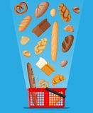 Bread icons and shopping basket. stock illustration