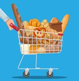 Bread icons and shopping cart. Whole grain, wheat and rye bread, toast, pretzel, ciabatta, croissant, bagel, french baguette, cinnamon bun. Vector illustration vector illustration