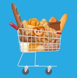 Bread icons and shopping cart. Whole grain, wheat and rye bread, toast, pretzel, ciabatta, croissant, bagel, french baguette, cinnamon bun. Vector illustration stock illustration