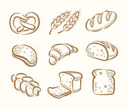 Bread icons. Vector hand drawn bread icons set on beige vector illustration