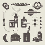 Bread icons. Vector set of various stylized bread icons royalty free illustration